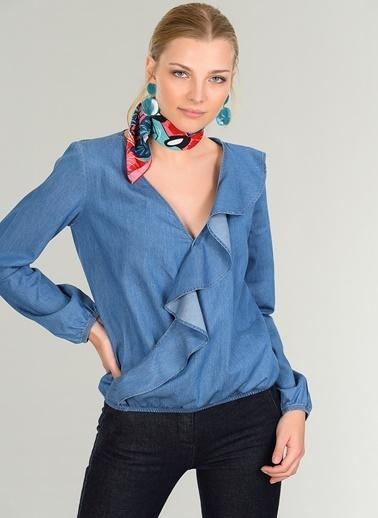 People By Fabrika Volan Detaylı Bluz İndigo